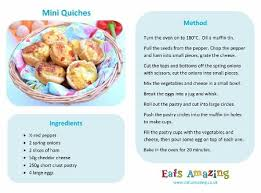 recipes for kids to make. Wonderful Recipes Mini Quiches Recipe  Free Printable Easy Recipe For Kids Great  Cooking With Children Inside Recipes For Kids To Make