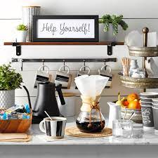 This coffee and wine bar cabinet is design for the corner of the home and also open to the other sections of the home. 11 Coffee Bar Ideas That Fit Every Style With Photos
