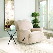 sure fit stretch suede recliner slipcover taupe sf35369