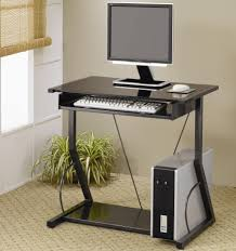 black metal computer desk with roll out keyboard tray and lower