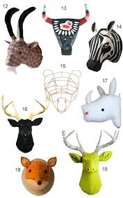 get the look faux animal heads regarding attractive property stuffed head wall decor plan plush mount rhinoceros felt animal head wall decor