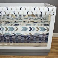 deer crib bedding blue tan brown navy perless nursery bedding