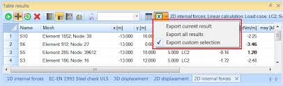 Tools in Table results - send table to MS Excel with one click