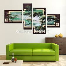 hand painted tree painting green landscape 4 piece canvas wall art sets modern abstract living room on 4 piece canvas wall art sets with hand painted tree painting green landscape 4 piece canvas wall art