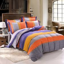 burnt orange grey yellow blue rugby stripe color block orange bedding sets and covers