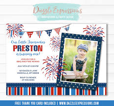 4th of july birthday invitation free thank you card included