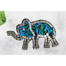 mosaic glass 16cm blue elephant wall hanging