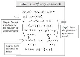solving equations quadratic in form