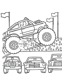 Free Monster Truck Coloring Sheets Pages Fire Printable Trucks Grave