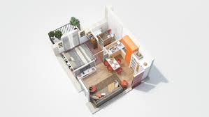 One Bedroom Design 40 More 1 Bedroom Home Floor Plans