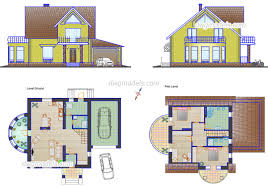 small family house dwg cad blocks free