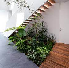 an indoor garden makes use of the space