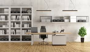 ways to organize office. Black And White Modern Office With Desk Bookcase - 3D Rendering Ways To Organize E