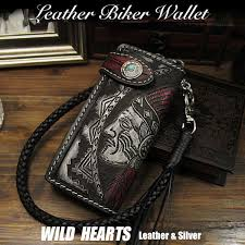 indian native american carved leather biker wallet genuine cowhide handcrafted custom handmade wild hearts leather silver