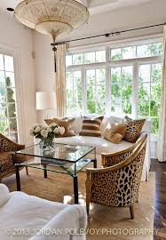 16 cheetah print upholstered chairs and pillows add eye catchiness to a neutral living room digsdigs not a big fan of leopard but like the design and big