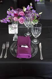 Purple And Black Wedding Table Setting The Celebration Society