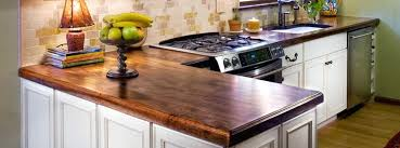 walnut butcher block countertops vintage kitchen with distressed white wooden cabinets ideas and countertop finish