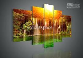 landscape wall art deep landscape wall art rain forest multi waterfalls beautiful river shining sun reflected