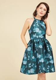 Light Green Fit And Flare Dress Fleurs Truly Fit And Flare Dress In Teal Garden Modcloth