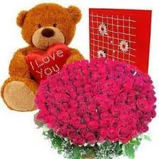 50 red roses n teddy