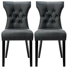 com modway silhouette tufted faux leather parsons dining side chair in black set of 2 kitchen dining