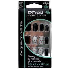 Royal Cosmetic Royal Umělé Nehty Nalepovací černé A Bílé Nehty Se Vzory 3g Vintage Midnight Rose Nail Tips 24 Glue On False Nails Tips 24ks