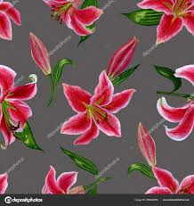 Handmade Wallpaper Design Seamless Floral Pattern Lily Flowers Watercolour Handmade