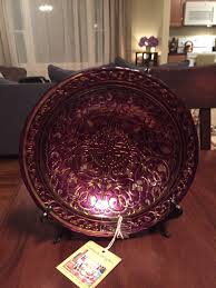Gold Decorative Bowl New With Tag Hand Painted Gold Purple Turkish Art Glass Decorative