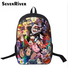 16 inch por book bag cartoon printing backpack for students boys gravity falls bag