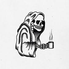 coffee tattoo flash. Unique Tattoo Tattoo Flash  Black And White Dotwork Skull Skeleton Grim Reaper To Coffee Flash