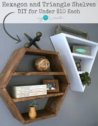 build you own awesome restoration hardware inspired hexagon and triangle shelves free plans and picture tutorial