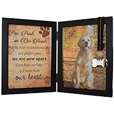 pawprints remembered pet memorial 5 x7 picture frame for dog or cat with ribbon and features a folding photo frame and sympathy poem loss of pet