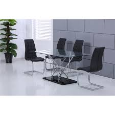 high quality designer glass dining table with 4 or 6 black faux leather chairs loading zoom