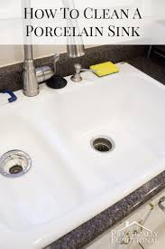 how to clean a porcelain sink even hard water stains discoloration scuff marks