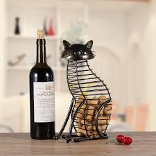 Tooarts Cat Wine Cork Container Home Decor Iron Craft Animal Ornament