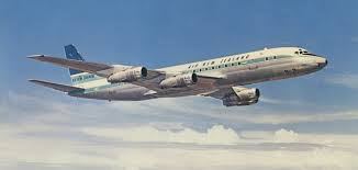 an air new zealand dc 8 jet aircraft in flight around 1965