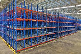 warehouse storage rack systems stock photo