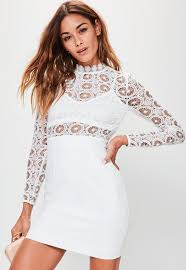 White Crochet High Neck Contrast Bodycon Dress Missguided