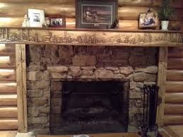 log cabin fireplace mantel