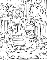 Small Picture Scene of Nativity Coloring Page Color Luna