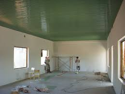 typical green metal ceiling being installed painted corrugated92 painted