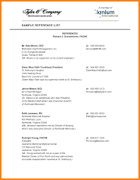 Resume References Samples 24 How To Format A List Of References Resume Type 20
