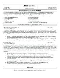 Objective For Project Manager Resume Construction Project Management