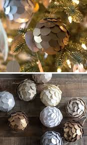 Metallic Paper Ball Ornaments | Click for 28 Easy DIY Christmas Decorations  for Home | Easy