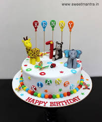 Animals Theme Colorful Designer Small Fondant Cake For Boys 1st
