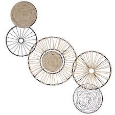 rattan wire circle metal wall decor