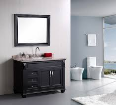 amazing espresso painted wall gray bathroom vanity with single sink and chrome curved taps also wall mount dark mirror frames also white toilet in large