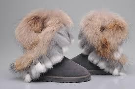 UGG 8288 Fox Fur Short Boots For Women in Gray