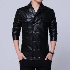 2018 mens casual jacket faux leather coats black nice quality size m 5xl drop notch collar patch pocket double ted from darnelly