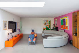 Modern bright living room Panelling Image By Thompson Bradford Architects Ltd Megpughco Midcenturymodernsofalivingroomcontemporarywithbrightcolours